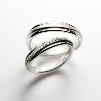 montblanc 結婚指輪 シンプル エレガント V字(ウェーブ) 幅広 プラチナ