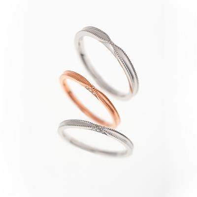 Ribon 結婚指輪 シンプル アンティーク ストレート プラチナ ピンクゴールド