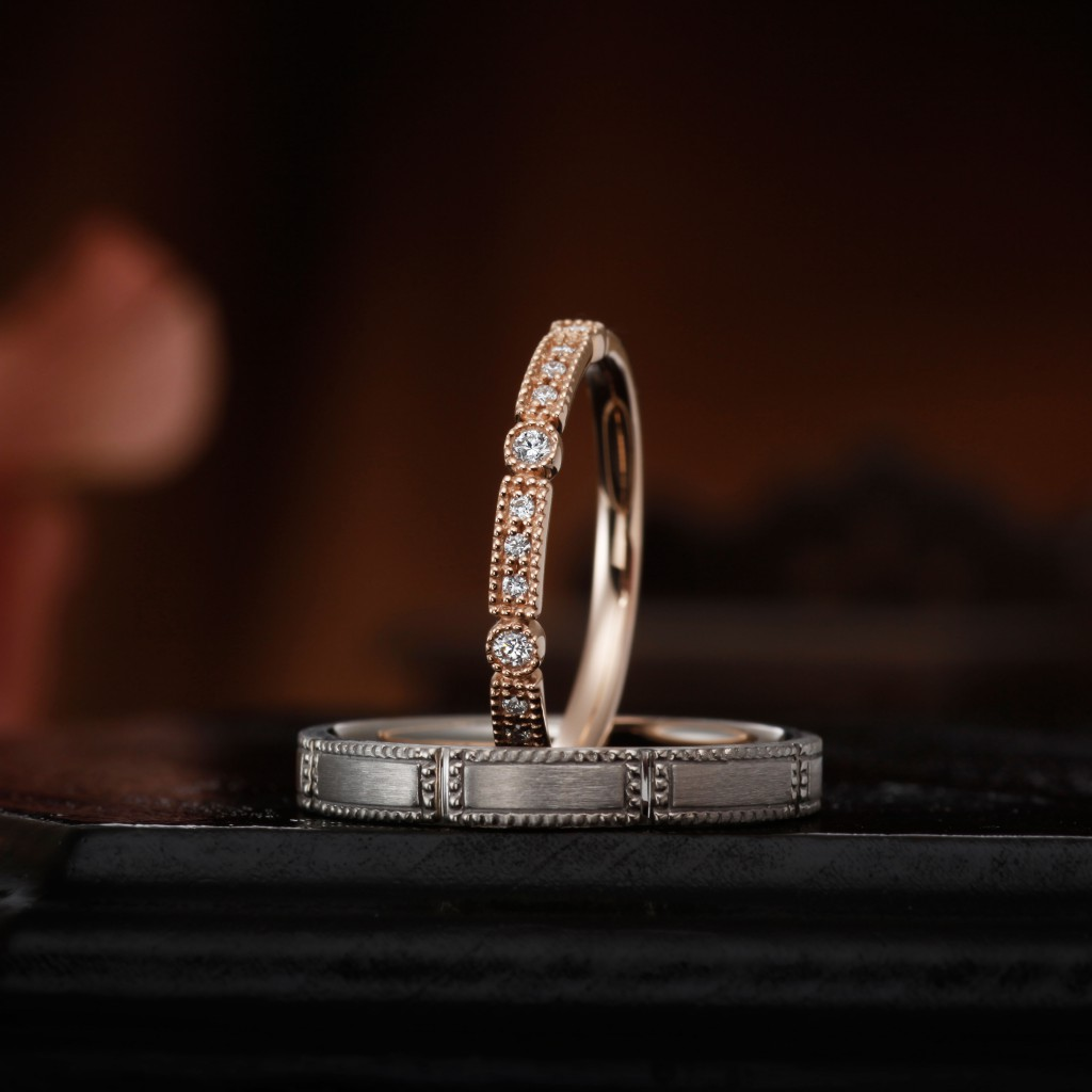 RANUNCULUS 結婚指輪 アンティーク キュート 個性派 ストレート プラチナ ピンクゴールド