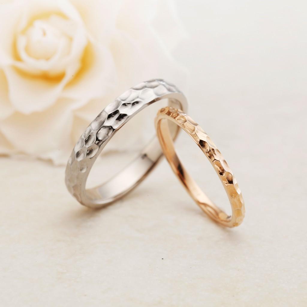 CALMER-カルメ- 結婚指輪 アンティーク 個性派 ストレート 幅広 プラチナ ピンクゴールド