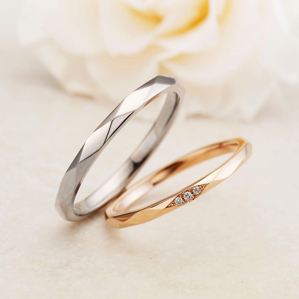 MILLE MERCIS 結婚指輪 シンプル 個性派 ストレート プラチナ イエローゴールド