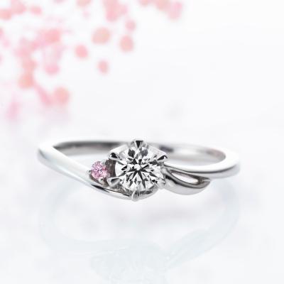 Wind 婚約指輪 キュート 個性派 S字(ウェーブ) プラチナ