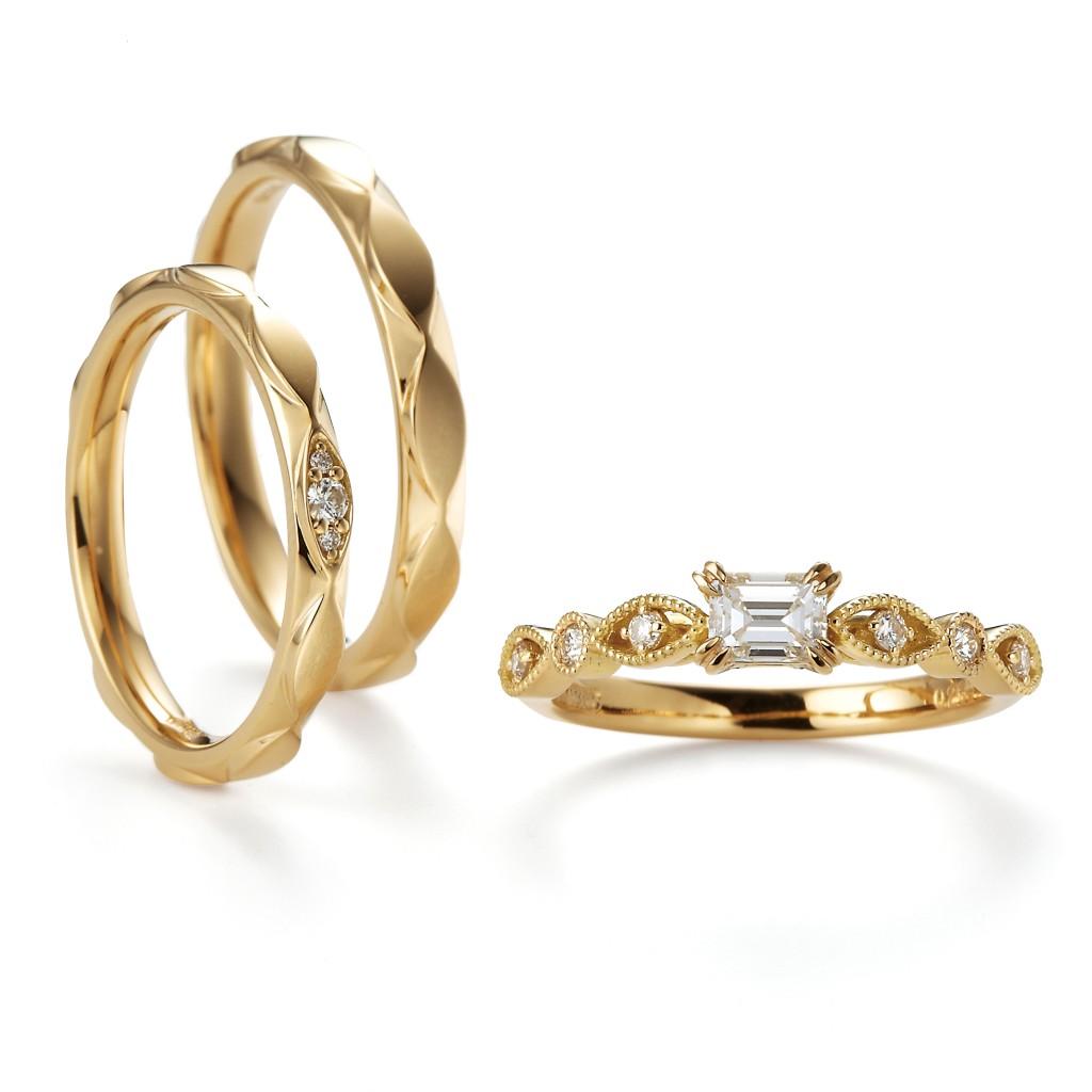 Geranium 婚約指輪 結婚指輪 セットリング エレガント アンティーク 個性派 ストレート イエローゴールド