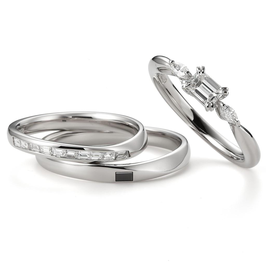 Jasmine 婚約指輪 結婚指輪 セットリング エレガント アンティーク S字(ウェーブ)