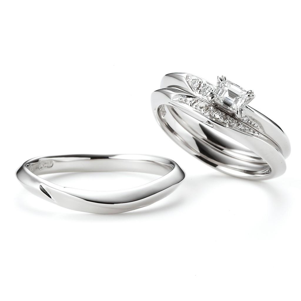 Neroli 婚約指輪 結婚指輪 セットリング シンプル エレガント V字(ウェーブ) プラチナ