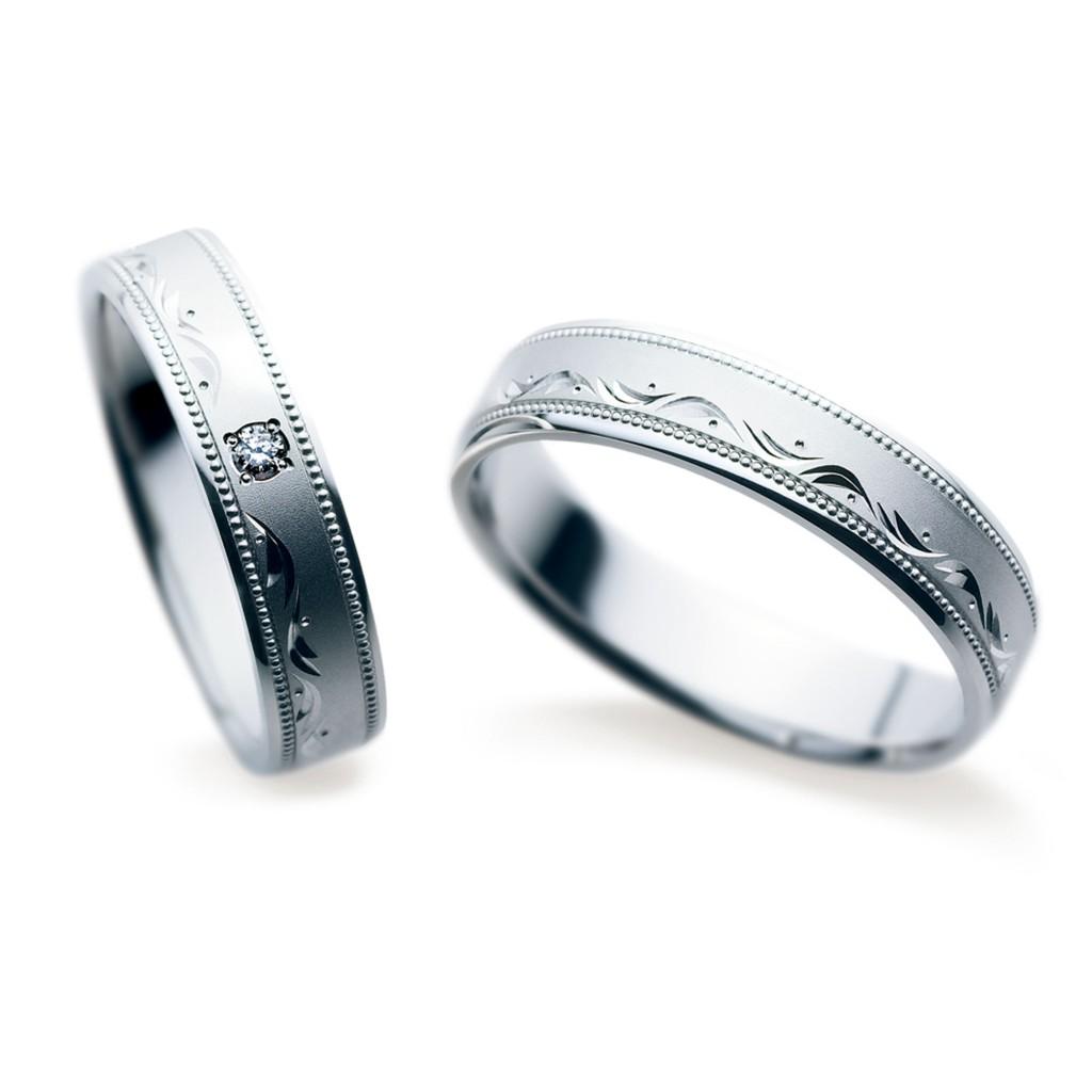 結婚指輪 アンティーク 個性派 ストレート 幅広 プラチナ