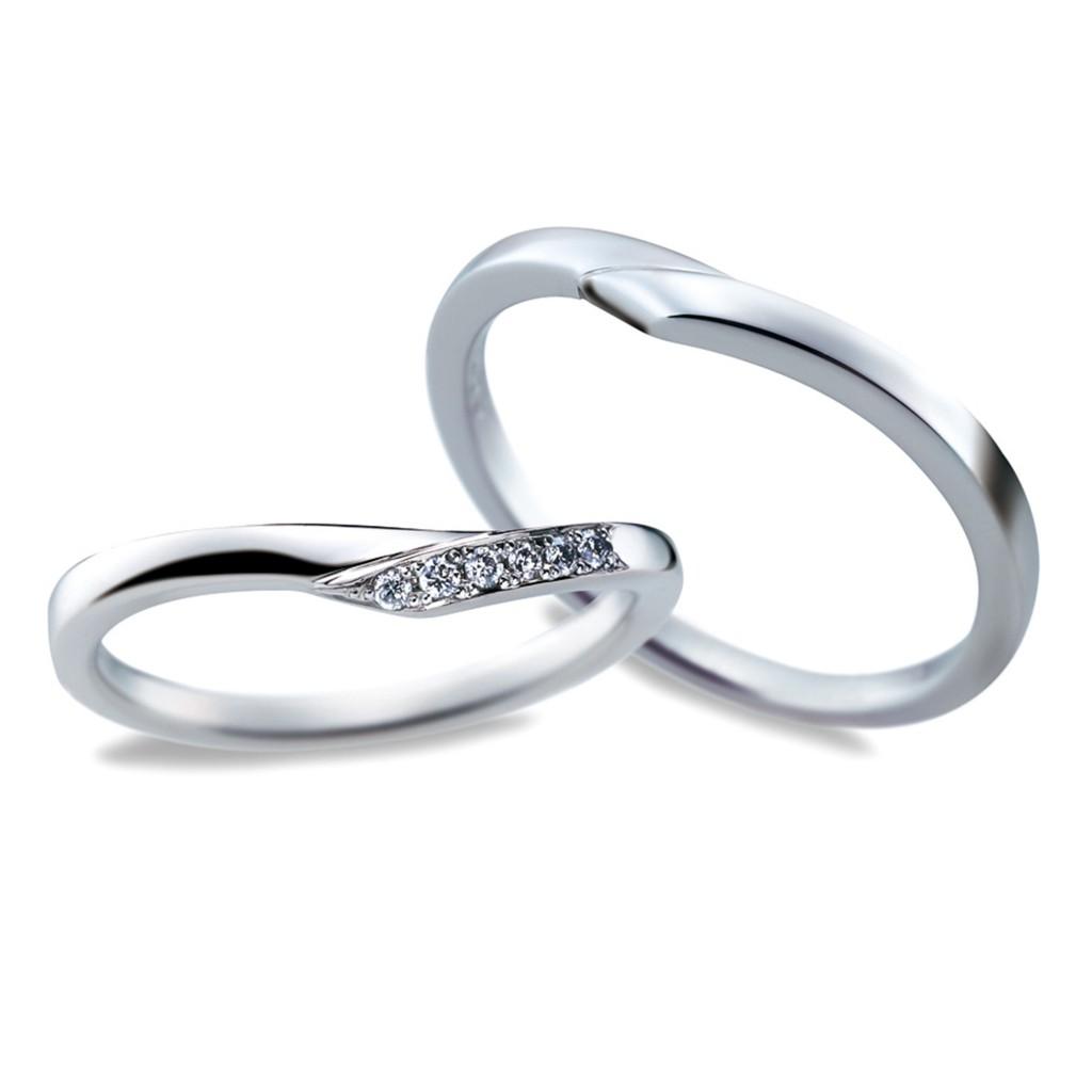 Something Blue 結婚指輪 エレガント キュート V字(ウェーブ) プラチナ