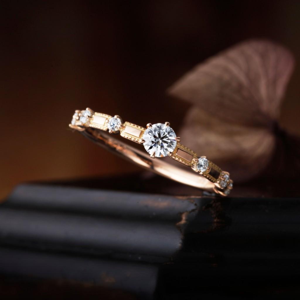 RANUNCULUS 婚約指輪 アンティーク キュート ストレート ピンクゴールド