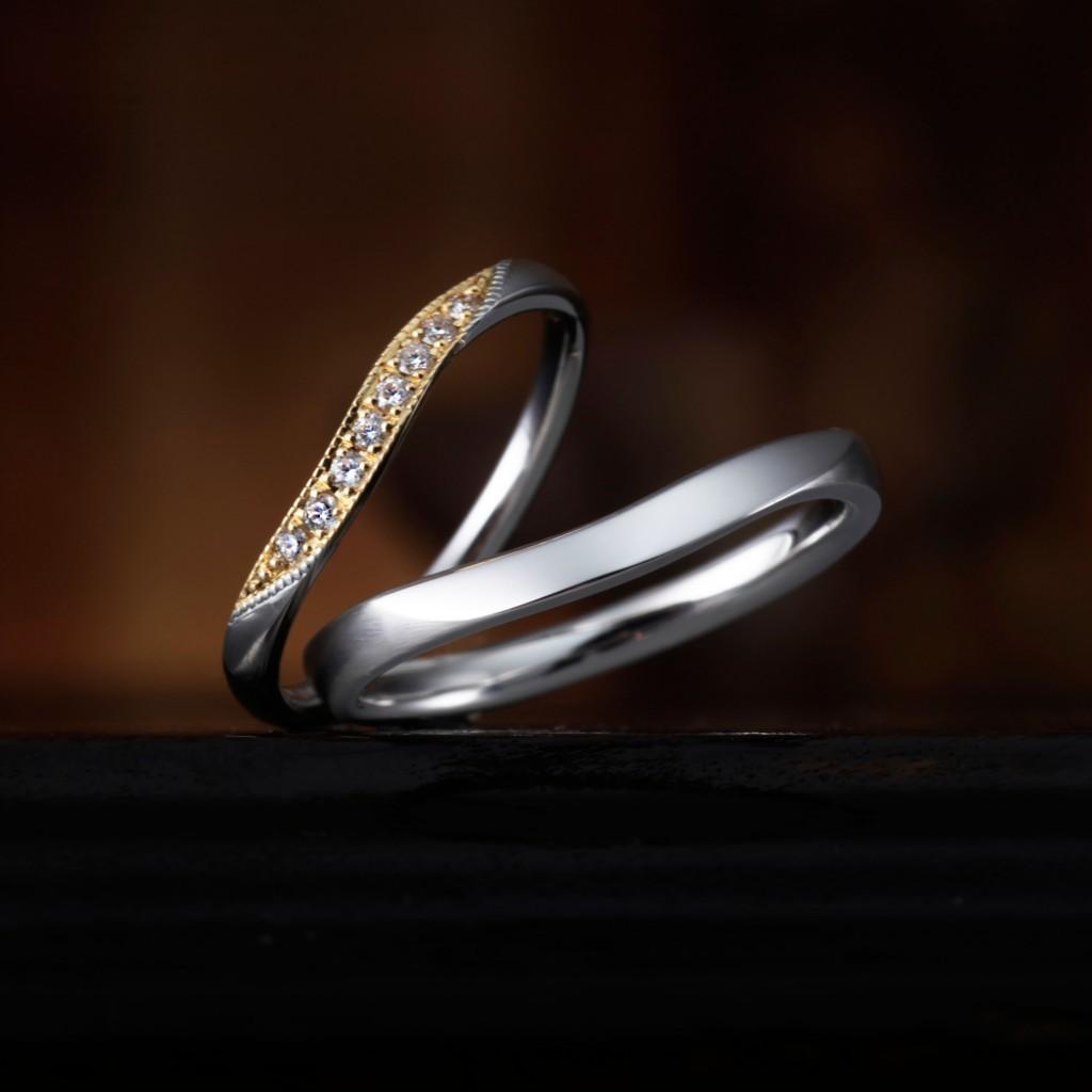 GERANIUM 婚約指輪 結婚指輪 アンティーク 個性派 S字(ウェーブ) エタニティ コンビ