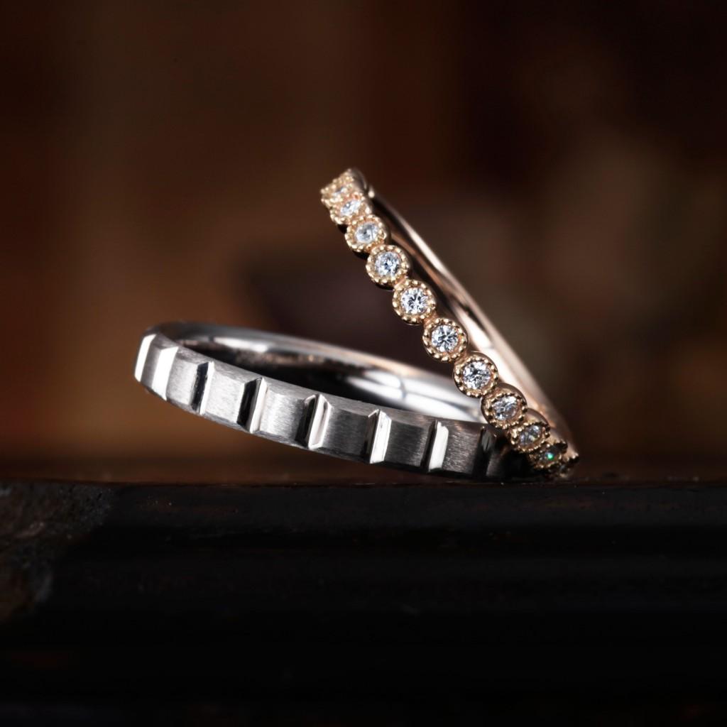 MUGUET 結婚指輪 アンティーク 個性派 ストレート エタニティ プラチナ ピンクゴールド