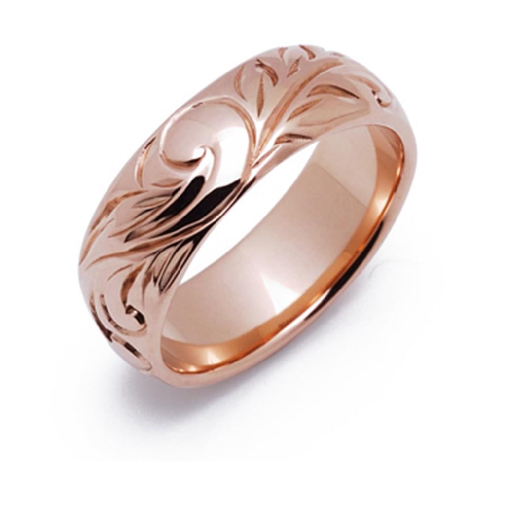 エマ 結婚指輪 シンプル アンティーク 個性派 ストレート 幅広 ピンクゴールド