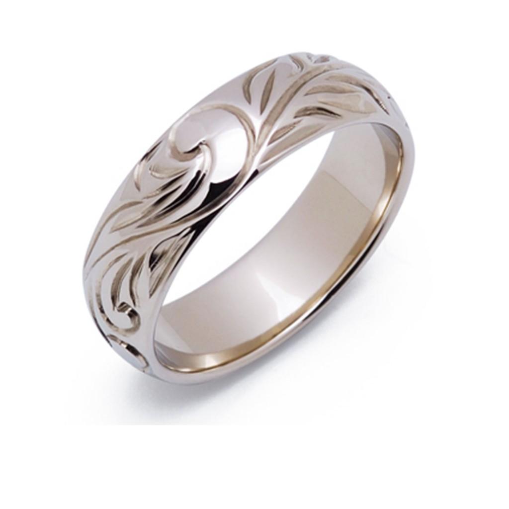 エマ 結婚指輪 シンプル アンティーク 個性派 ストレート 幅広