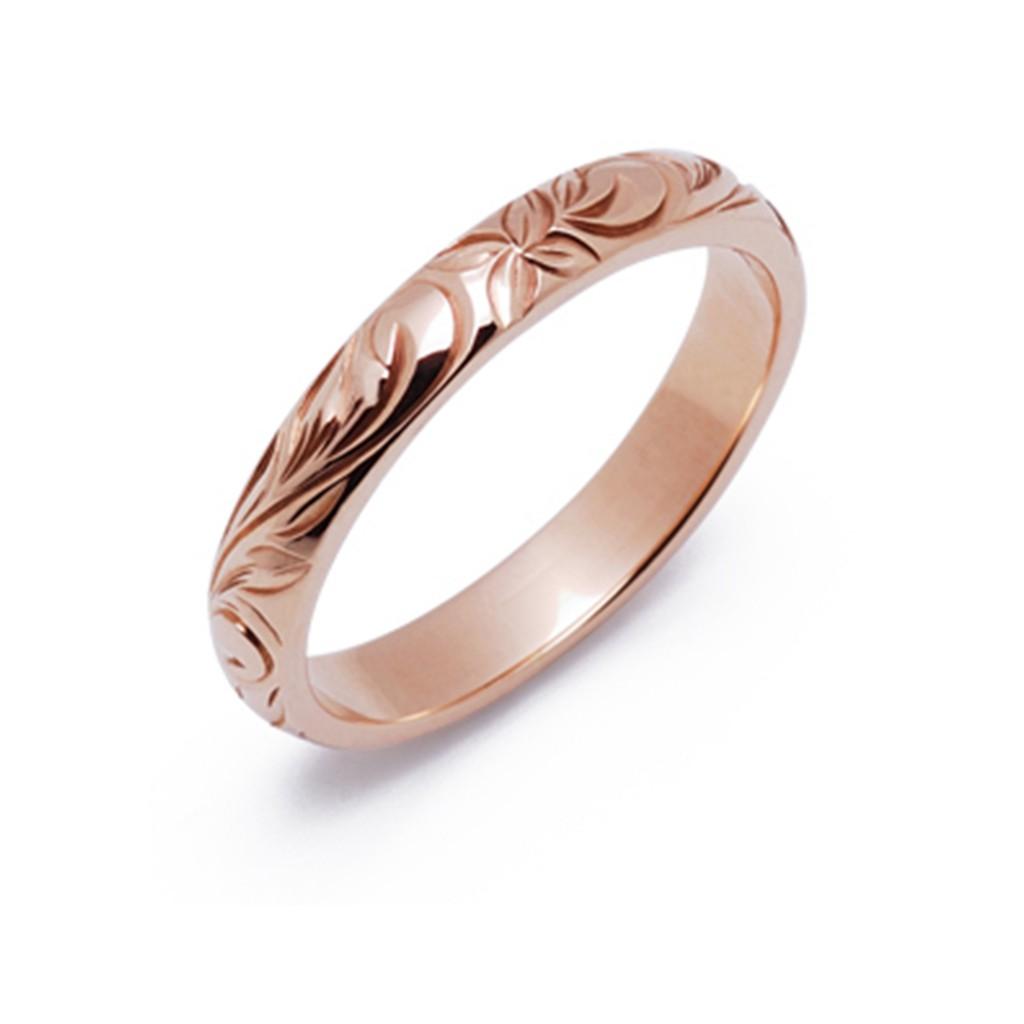 キリハ 結婚指輪 シンプル アンティーク 個性派 ストレート ピンクゴールド