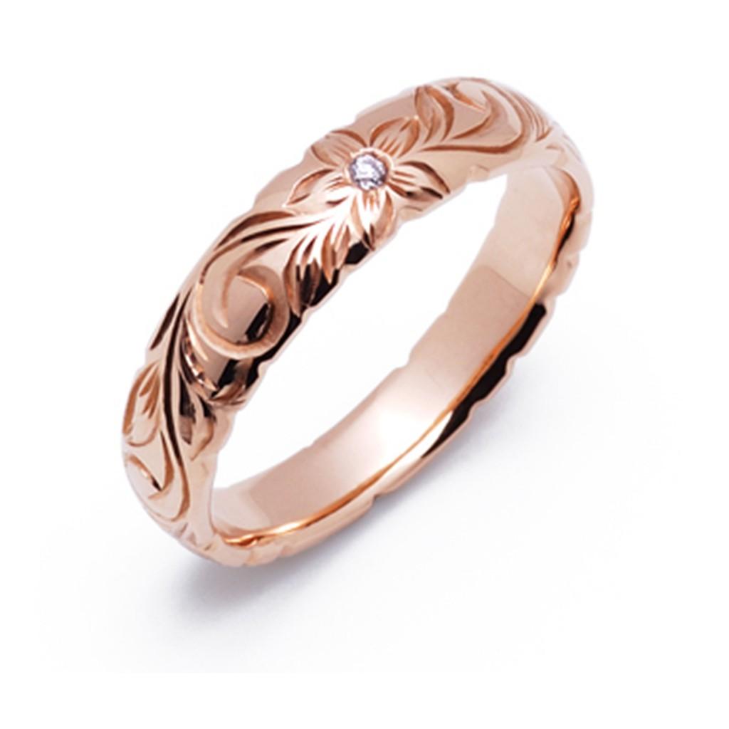 キナウ 結婚指輪 シンプル アンティーク 個性派 ストレート 幅広 ピンクゴールド