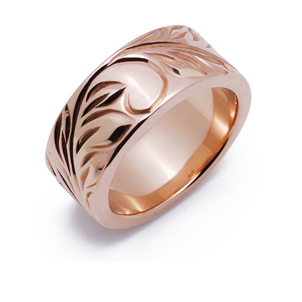 ヌイ 結婚指輪 シンプル 個性派 ストレート 幅広 ピンクゴールド
