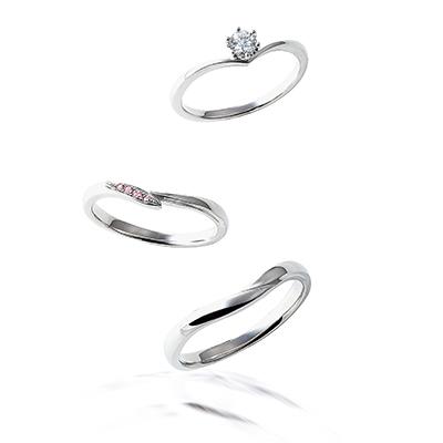 toute ārme 婚約指輪 結婚指輪 セットリング シンプル キュート V字(ウェーブ) パラジウム
