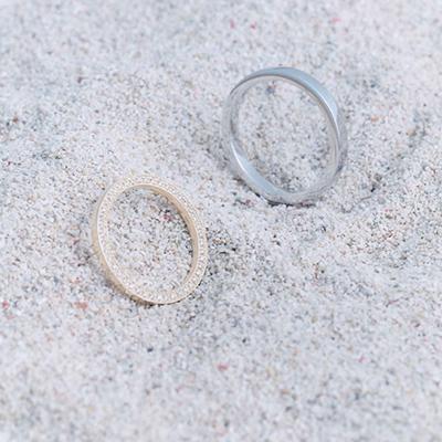 さらさら 結婚指輪 シンプル エレガント ストレート エタニティ イエローゴールド ホワイトゴールド
