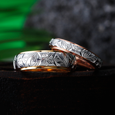 MAULOA 結婚指輪 個性派 ストレート 幅広 プラチナ イエローゴールド ピンクゴールド コンビ