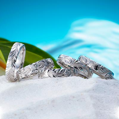 HEART ISLAND 結婚指輪 個性派 ストレート 幅広 プラチナ