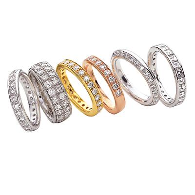 Mémoire 結婚指輪 エレガント ストレート 幅広 エタニティ プラチナ イエローゴールド ピンクゴールド