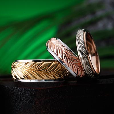 MAILE LEI 結婚指輪 個性派 ストレート 幅広 イエローゴールド ピンクゴールド コンビ