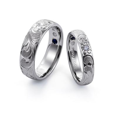 Makana 結婚指輪 エレガント 個性派 ストレート 幅広 ホワイトゴールド