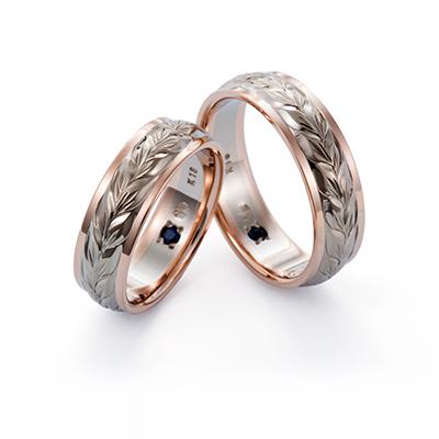 Makana 結婚指輪 エレガント 個性派 ストレート 幅広 ホワイトゴールド ピンクゴールド コンビ