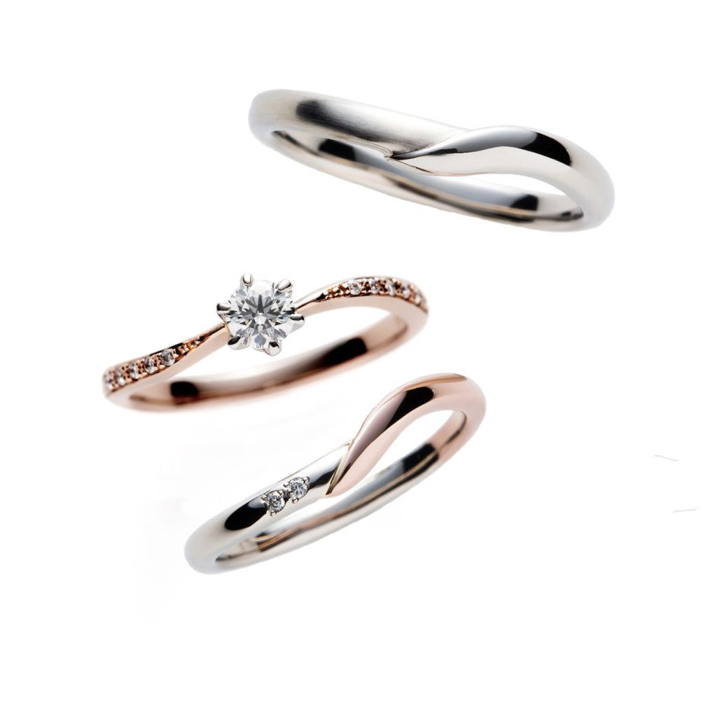 Franc Boise Sour 婚約指輪 セットリング エレガント キュート S字(ウェーブ) エタニティ プラチナ ピンクゴールド コンビ