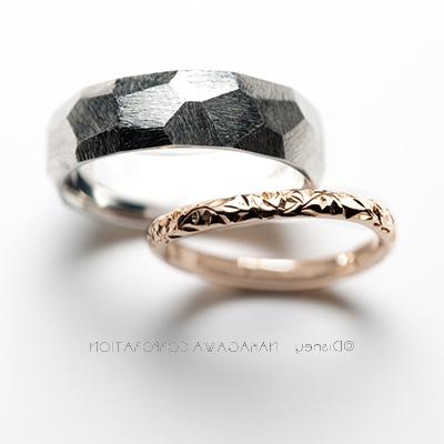 belle & beast 結婚指輪 個性派 S字(ウェーブ) プラチナ ピンクゴールド