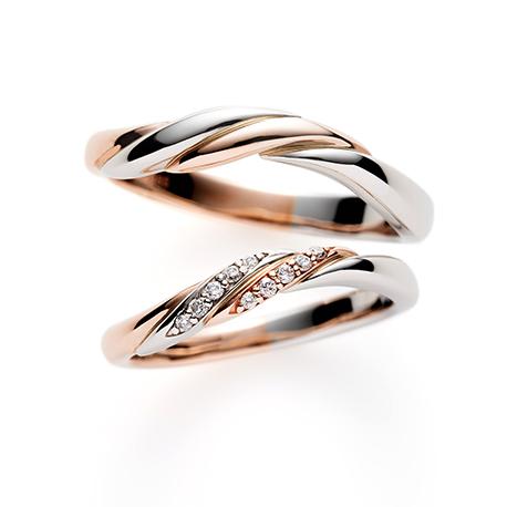 Casablanca 結婚指輪 エレガント 個性派 S字(ウェーブ) プラチナ ピンクゴールド コンビ
