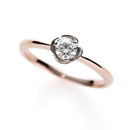 White Rose 婚約指輪 キュート 個性派 ストレート ピンクゴールド