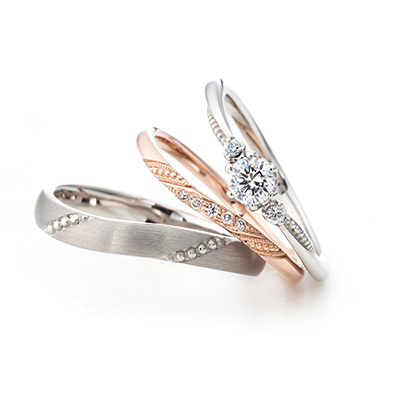 Oratorio -オラトリオ- 婚約指輪 結婚指輪 セットリング エレガント S字(ウェーブ) プラチナ ピンクゴールド