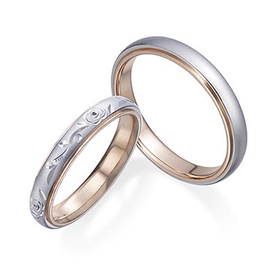 薔薇の彫り柄 Pt&PG  結婚指輪 エレガント ストレート コンビ