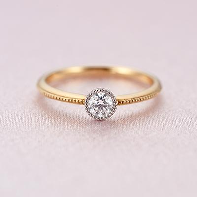 gisel-ジゼル- 婚約指輪 アンティーク ストレート イエローゴールド コンビ