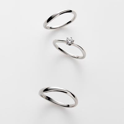 avec toi-アヴェクトワ- 結婚指輪 セットリング シンプル S字(ウェーブ) パラジウム