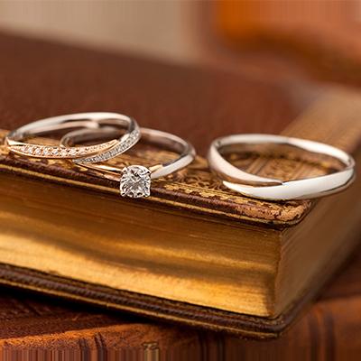 Novel 婚約指輪 結婚指輪 セットリング キュート V字(ウェーブ) プラチナ ピンクゴールド コンビ
