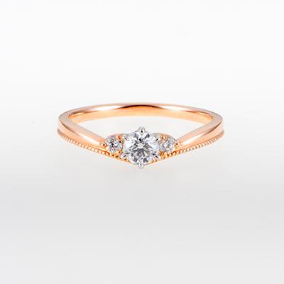 RibonⅢ 婚約指輪 キュート V字(ウェーブ) ピンクゴールド