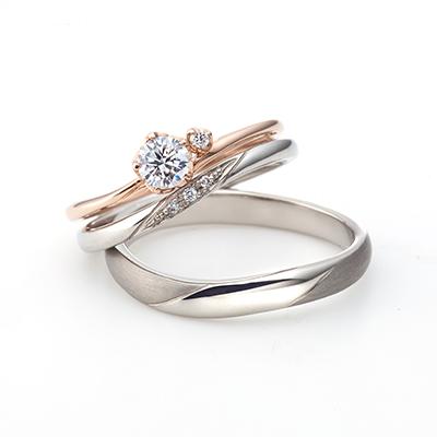 Canzone - カンツォーネ - 婚約指輪 結婚指輪 セットリング エレガント S字(ウェーブ) プラチナ ピンクゴールド
