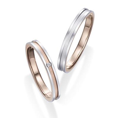 センターライン Pt&PG 結婚指輪 シンプル ストレート コンビ