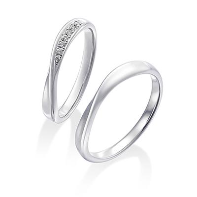 ダイヤモンド ツイスト Pt 結婚指輪 エレガント S字(ウェーブ) プラチナ