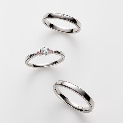poēsie-ポエジ- 婚約指輪 結婚指輪 セットリング キュート ストレート パラジウム
