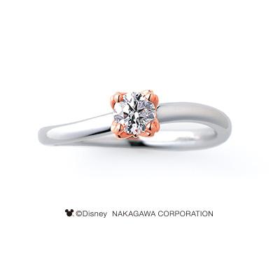 COMET [ほうき星] 婚約指輪 シンプル キュート 個性派 S字(ウェーブ) プラチナ ピンクゴールド コンビ