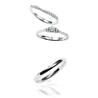 radieux-ラデュー- 婚約指輪 結婚指輪 セットリング エレガント V字(ウェーブ) エタニティ パラジウム