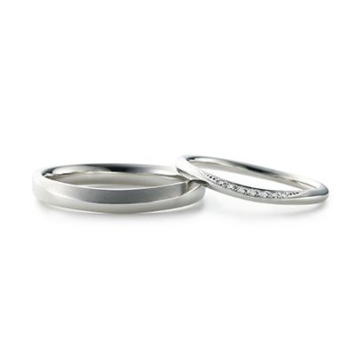 KIKI 結婚指輪 シンプル エレガント V字(ウェーブ) エタニティ プラチナ