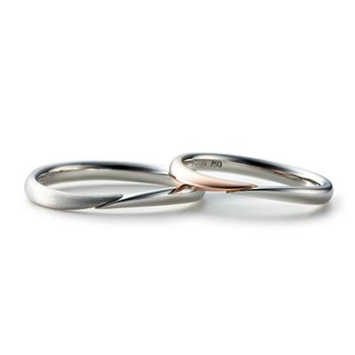 TOMOE 結婚指輪 シンプル S字(ウェーブ) プラチナ コンビ