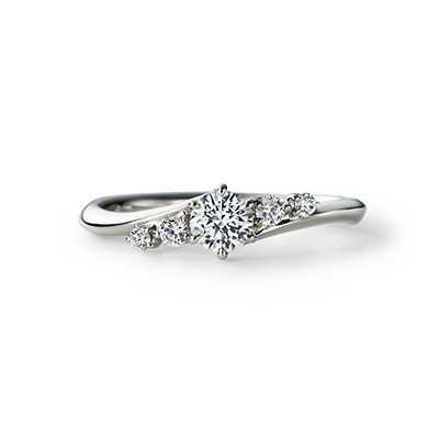 YAWAKA 婚約指輪 エレガント S字(ウェーブ) プラチナ