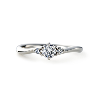 AYA 婚約指輪 エレガント S字(ウェーブ) プラチナ
