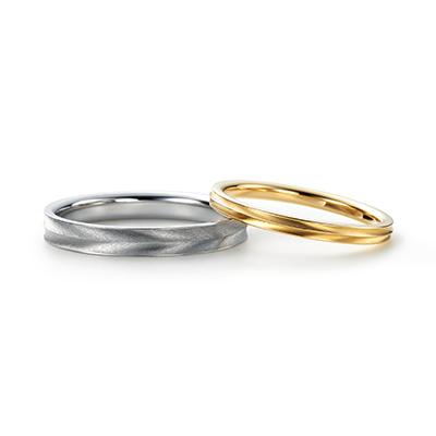 TAKANOHA 結婚指輪 個性派 ストレート プラチナ イエローゴールド