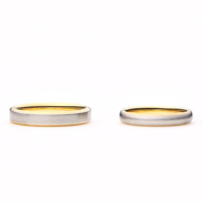 tiramisu 結婚指輪 シンプル キュート ストレート プラチナ イエローゴールド コンビ
