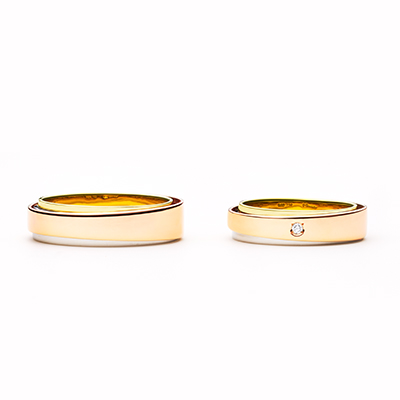opera 結婚指輪 シンプル エレガント 個性派 幅広 ピンクゴールド コンビ